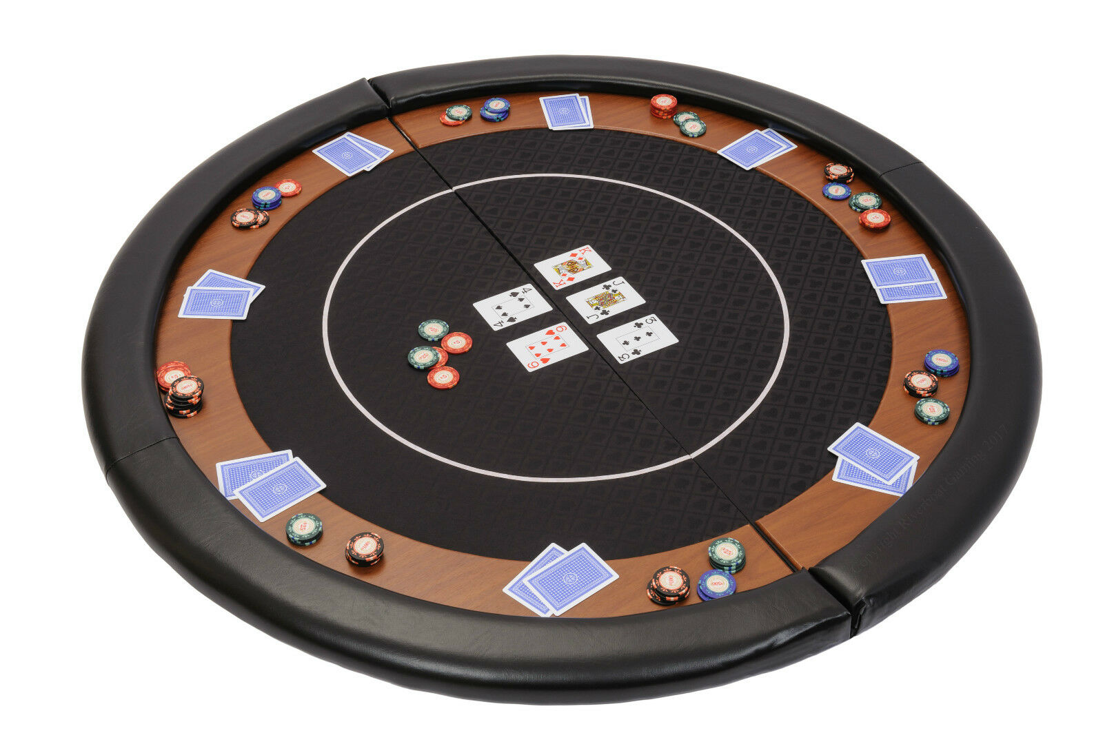 Riverboat Folding Poker Table Top in negro Speed Cloth and Leather Armrest 120cm