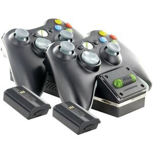 NYKO-86074-Xbox-360-Wireless-Controller-Charging-Dock-Black-with-2-batteries