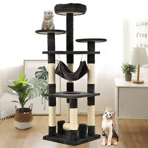52-034-Cat-Tree-Condo-Climbing-Tower-Scratching-Kitty-Play-House-w-Hammock-Gray