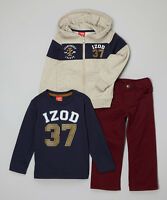 Boys Izod Oat Heather '37' Tee, Hoodie And Pants Set - Size 7