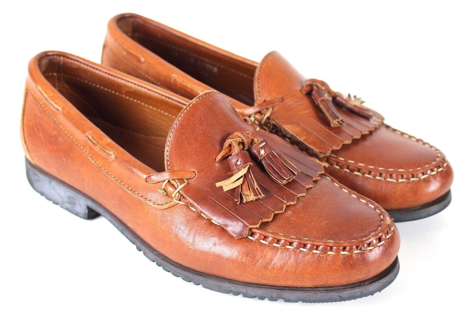 Allen Edmonds Nashua Tassel Loafer Slip On shoes MENS 11 D Tan Leather