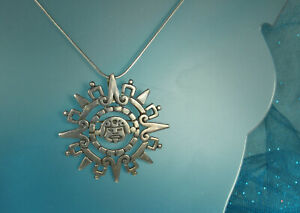 TAXCO-Aztec-SUN-CALENDAR-Pendant-Necklace-Pin-2-25-034-1950s-STERLING-Signed-FAB