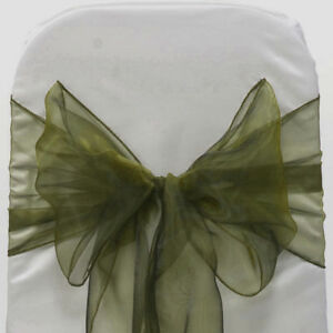 100pc Olive Green Organza Chair Sash Bows For Wedding Banquet Party Event Decor Ebay