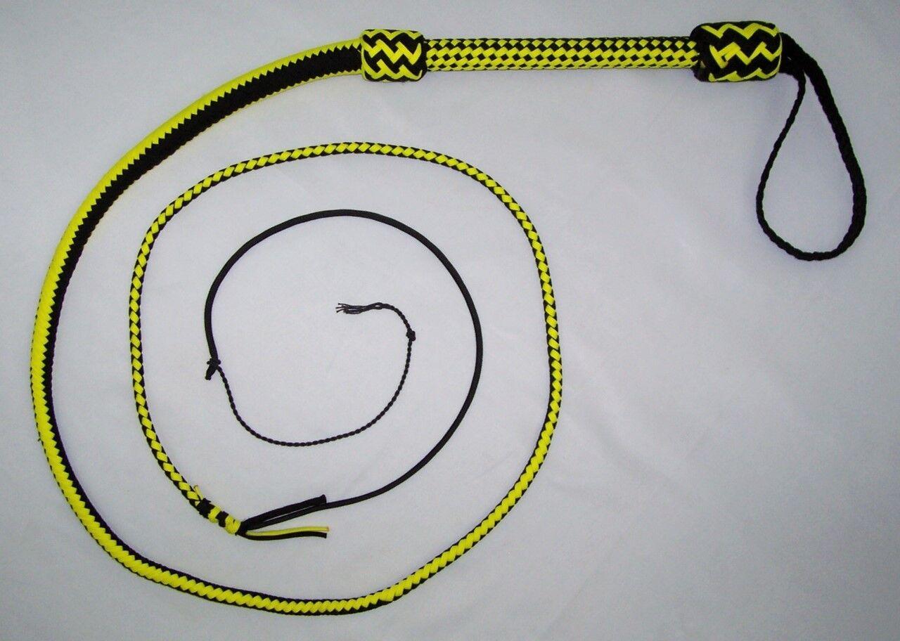 6 ft (approx. 1.83 m) 16 Trenzas Nylon Negro y amarillo bien ponderado tiro cargado Real Látigo Látigo De Toros