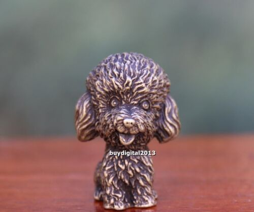 4 CM Pure Bronze Chinese Zodiac Animal Teddy Bear Pet dog Art Deco sculpture