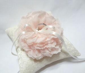 Wedding ring pillow pink bloom on ivory lace pillow Handmade Ring bearer pillow