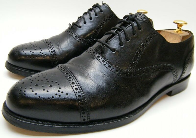 MENS LANDS END BLACK CAP TOE BROGUE LEATHER OXFORD DRESS SHOES SZ 10.5~1/2 M