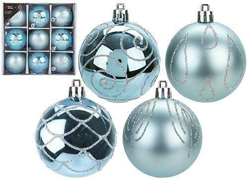 9 X 6CM LUXURY BAUBLES ICE BLUE CHRISTMAS TREE DECORATIONS HANGING XMAS