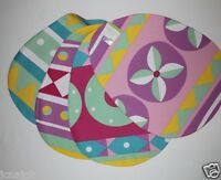 Set Of 4 Bright Easter Egg Placemats W/ Pink Backs - 100% Cotton 13 X 17