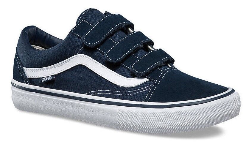 VANS (OLD SKOOL V PRO) NAVY BLUE STRAP CANVAS SUEDE SKATE SHOES SZ 11.5 Uomo NIB