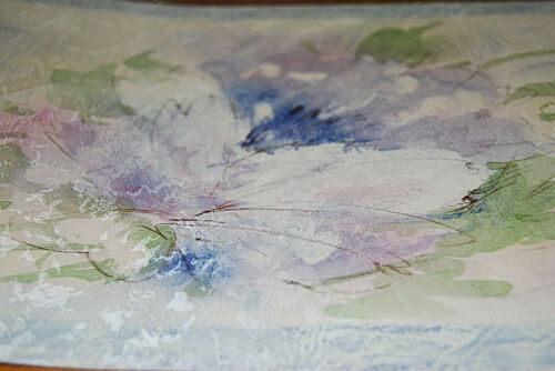 Purple Watercolor Floral Design Wallpaper Border  W1191 Blue Flowers Pink