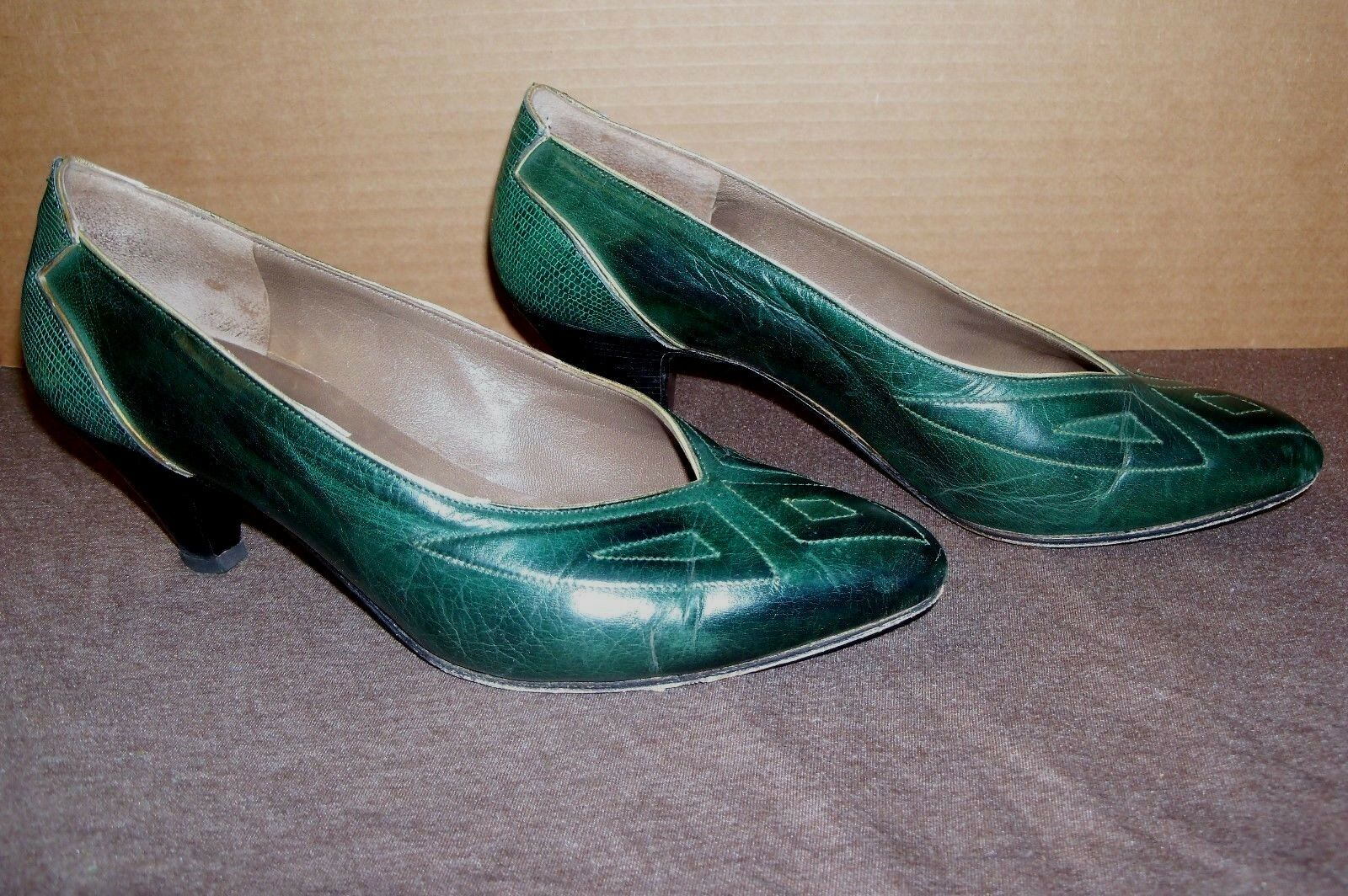 ea5a62ff0a ... ITALIAN LEATHER JACOPO PADOVA PADOVA PADOVA CLASSIC PUMPS SZ 6 (36.5)  EMERALD GREEN STITCHING ...