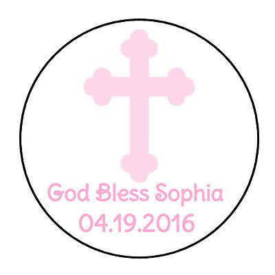 24 personalized light pink cross baptism favor labels round stickers 1 67