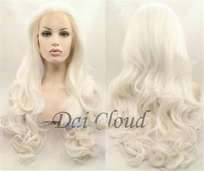Natural Hot Women White Long Cruly Lace Front Wig Heat Resistant Hair Full Wigs