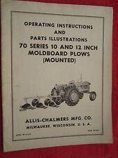Vintage Allis Chalmers 70 Series Moldboard Mounted Plow Operating Amp Parts Manual