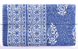 Patchwork Quilt Indigo block print Kantha Quilt Handblock kantha King Size Cotton Blanket Kantha Beach Throw Bedcover Bedsheet Queen throw
