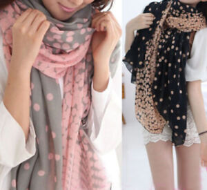 New Fashion Women Ladies Chiffon Dot Print Scarf Soft Wrap Long Shawl Polka Dot