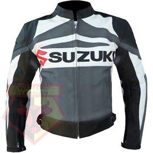 SUZUKI-GSX-GREY-MOTORBIKE-MOTORCYCLE-BIKER-COWHIDE-LEATHER-ARMOURED-JACKET