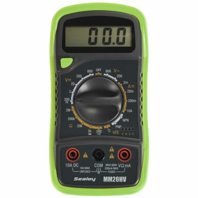 Sealey Hi-Vis Green 8 Function Digital Multimeter Thermocouple AC DC Current