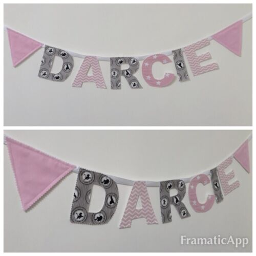 Personalised Girls Fabric Bunting Name Baby Pink Lion KingNursery£2.20PER LETTER