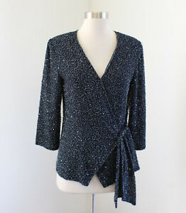 Navy-Blue-Sequin-Beaded-Wrap-Tie-Evening-Blouse-Size-6-Formal-Party-V-Neck