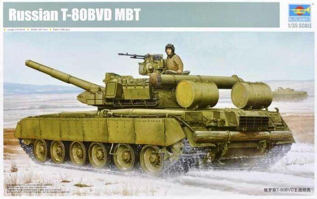 RUSSIAN T-80BVD MAIN BATTLE TANK TRUMPETER 1 35 PLASTIC KIT
