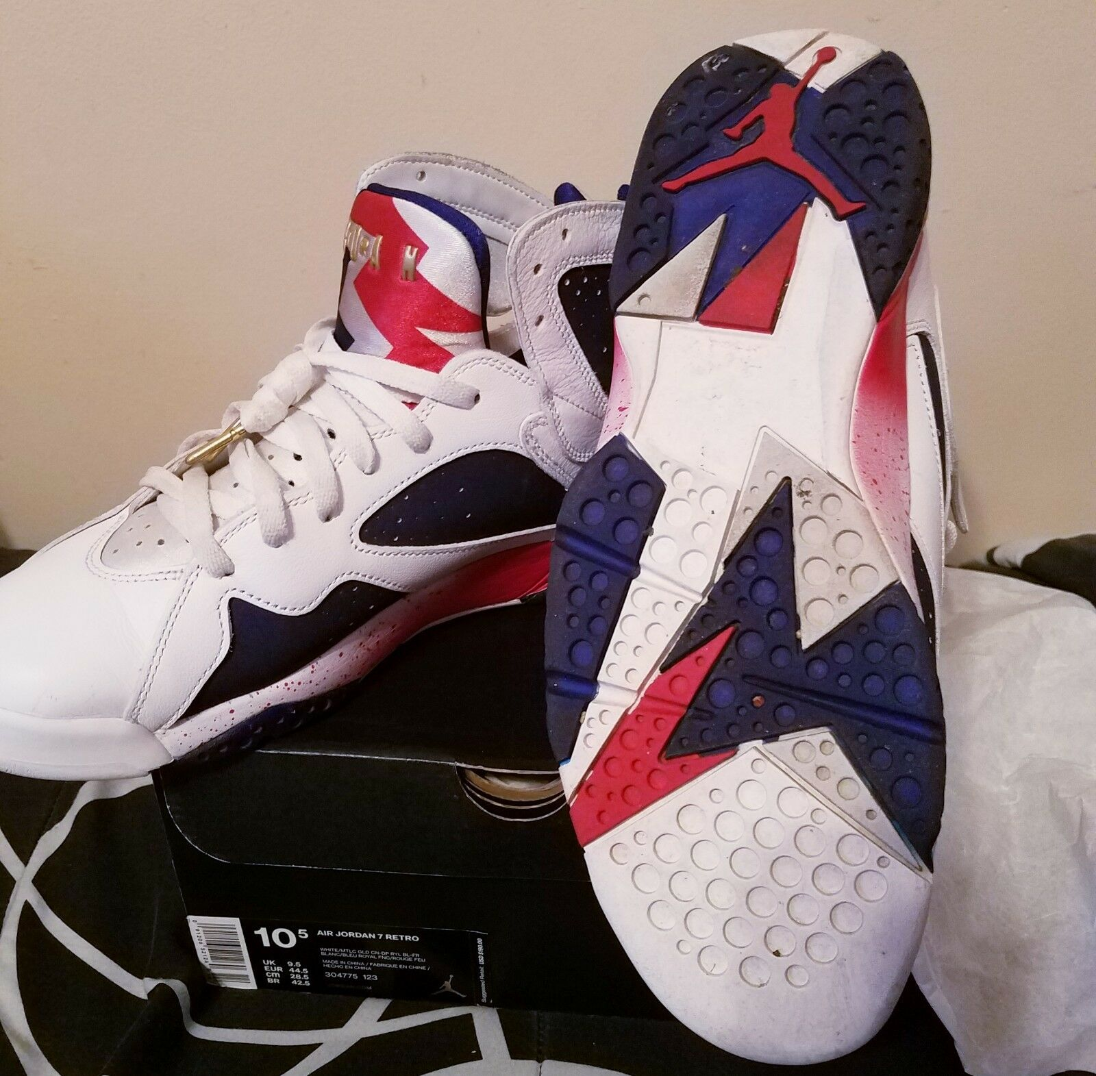 Air Jordan 7 Retro Red, White, and bluee