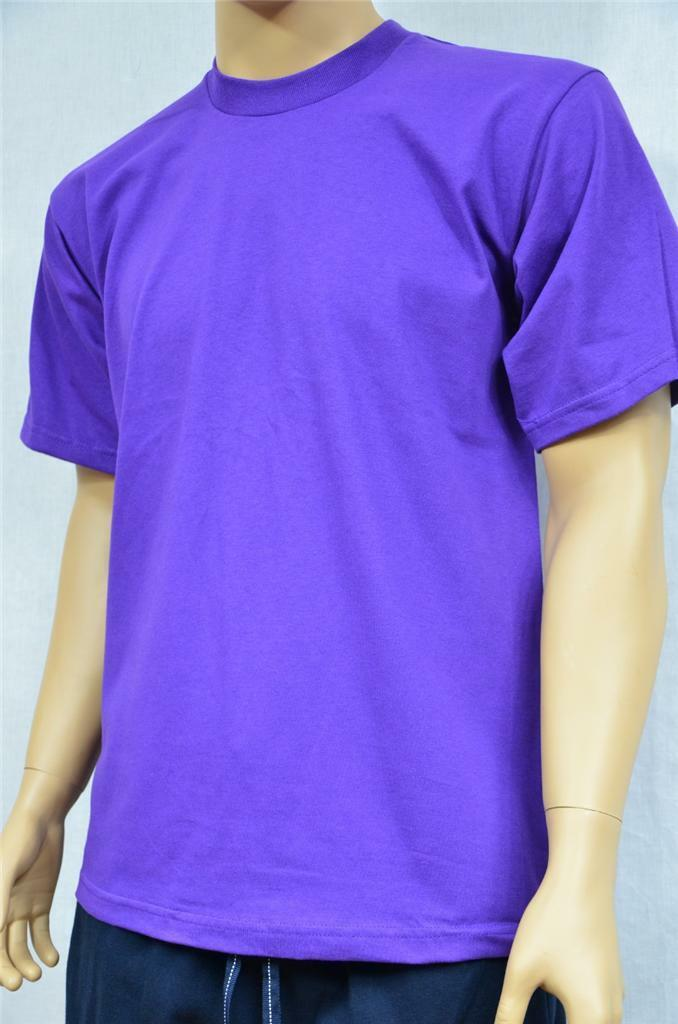 6 NEW PROCLUB S-5XLT HEAVY WEIGHT T-SHIRTS PURPLE PLAIN TEE PRO CLUB BLANK