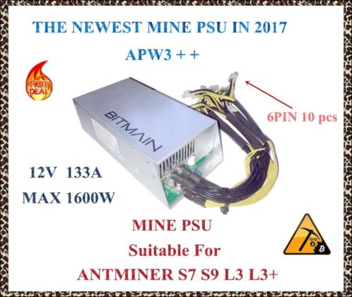 Antminer D3 Bitmain APW3+ Antminer L3+ Power Supply 1600W for Antminer S9