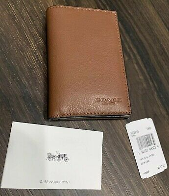 Coach F23845 Men/'s Trifold Sport Calf Pebble Black Leather Wallet New NWT $150