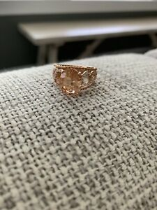Morganite-Rose-Gold-Oval-Ring-Size-7-5-Plated