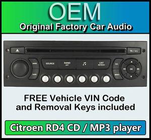citroen c4 picasso car stereo mp3 cd player citroen rd4 radio free vin code ebay. Black Bedroom Furniture Sets. Home Design Ideas