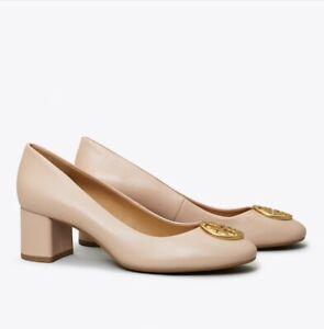 TORY-BURCH-Chelsea-GOAN-SAND-Leather-Block-Heel-Pumps-Size-8-278-NEW-NWOB