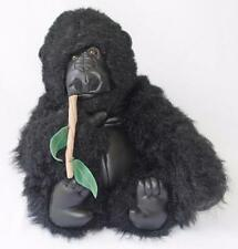 Animal Planet Gorilla Plush Black w/ Branch in Mouth Faux Leather Face & Feet