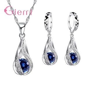 Damen-Schmuckset-925-Silber-Halskette-Ohrringe-Ohrstecker-Ohrschmuck-Kette