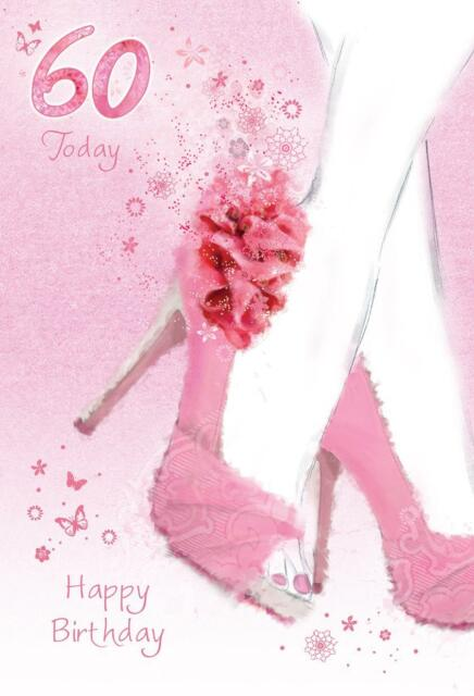 Stunning Glitter Coated Shoes 60 Today 60th Birthday Greeting Card