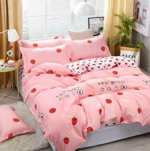 Twin Full King Cute Printed 4Pcs Bedding Sets Pillowcase Flat Sheet Duvet Cover