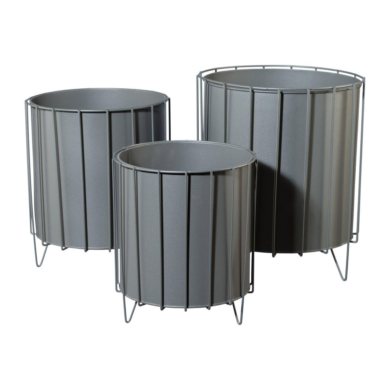 Metal Plantador Ambiente Auf Marco Rendondo 3erset en Div. Tamaños, gris