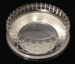 "Handi-Foil 9"" Deep Smooth Aluminum Foil Pie Pan Tin + Clear Dome Lid - HFA # 409"