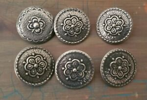 SET OF 6 OR 7 Metal Shank Buttons 1116 Nordic Rose Silver Pewter Color Vintage Sewing Craft Supplies Knitting Sweater WormeWoole No 50