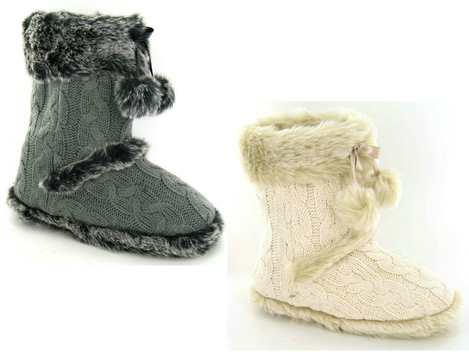 LADIES CABLE KNIT FAUX FUR SLIPPERS BOOTS X2037 IVORY OR DK GREY