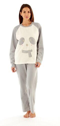 Selena Ladies Super Soft Luxury Bear With Scarf Polyeste Micro Fleece Pyjama Set
