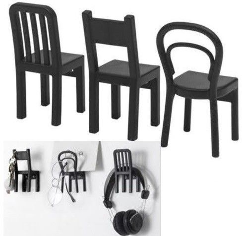 UK-B786 Noir IKEA fjantig Manteau Touches BIJOUX vêtements crochets Cintres Set 3