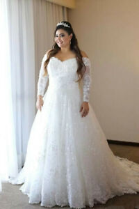 Details About Vintage White Long Sleeves Wedding Dress Lace Beads Sequin Bridal Gown Plus Size