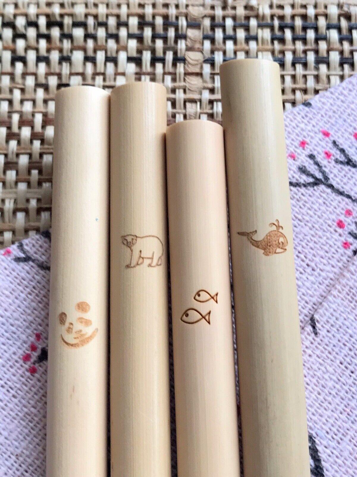 50 Bambou réutilisables pailles - 20% Fait Don à une Oeuvre Caritative