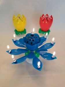 3 Pack Amazing Lotus Flower Musical Birthday Candle 3 Pack Blue