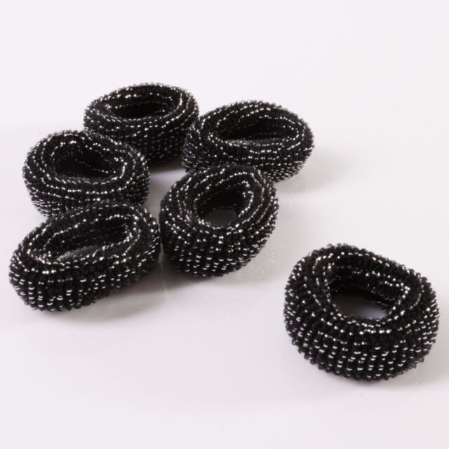 6x BLACK ELASTIC BOBBLES | Childs/Kids Thick Stretch Ponytail Hair Styling Bands