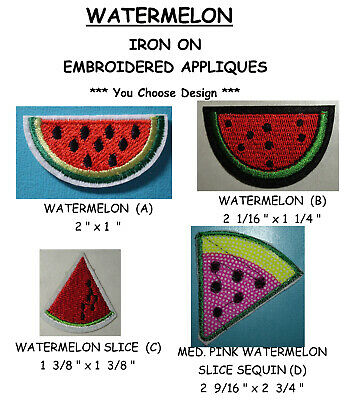 WATERMELON W//PICNIC ANTS EMBROIDERED IRON ON APPLIQUE PATCH