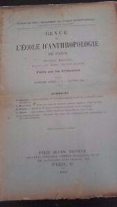 Rivista SCUOLA Antropologia 12EME Anno 1902 F.Alcan N°1 ABE
