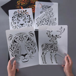 5X-Set-A4-Animals-Drawing-Painting-Stencils-Template-Scrapbook-Embossing-Art-YK